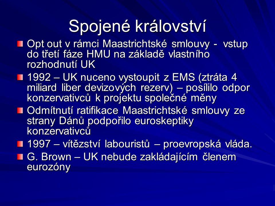 Spojené království Opt out v rámci Maastrichtské smlouvy - vstup do třetí fáze HMU na základě vlastního rozhodnutí UK.