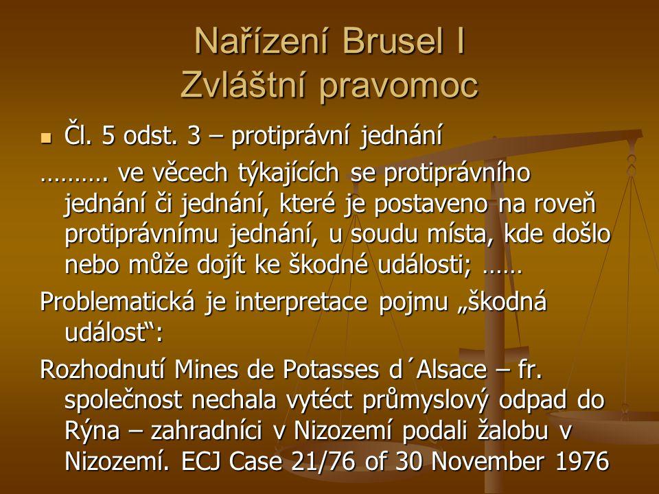 Nařízení Brusel I Zvláštní pravomoc