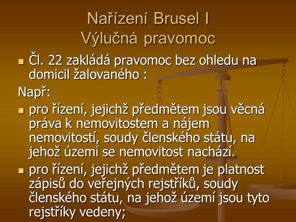 Nařízení Brusel I Výlučná pravomoc