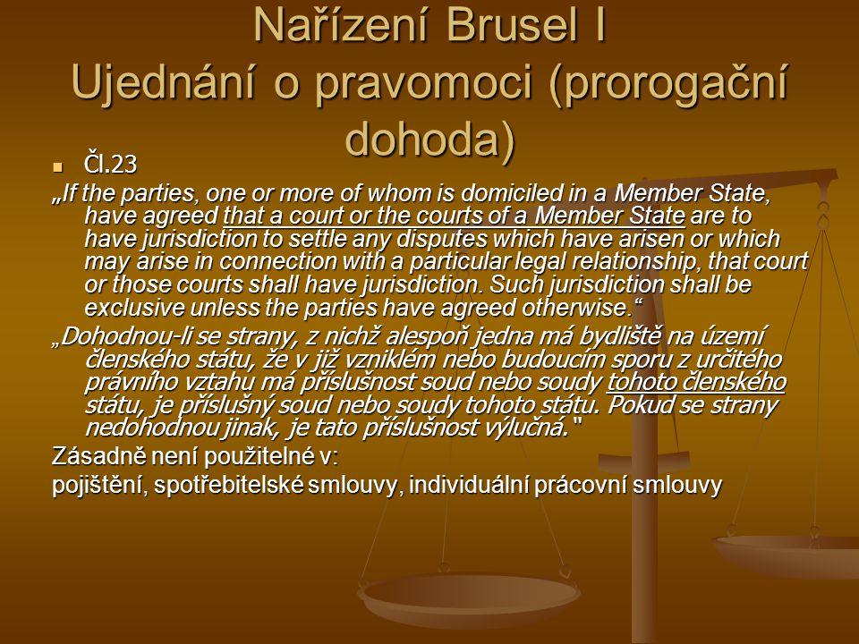 Nařízení Brusel I Ujednání o pravomoci (prorogační dohoda)