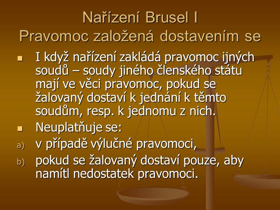 Nařízení Brusel I Pravomoc založená dostavením se