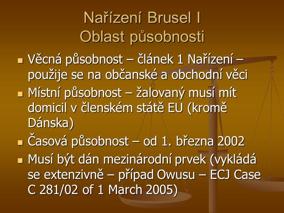 Nařízení Brusel I Oblast působnosti