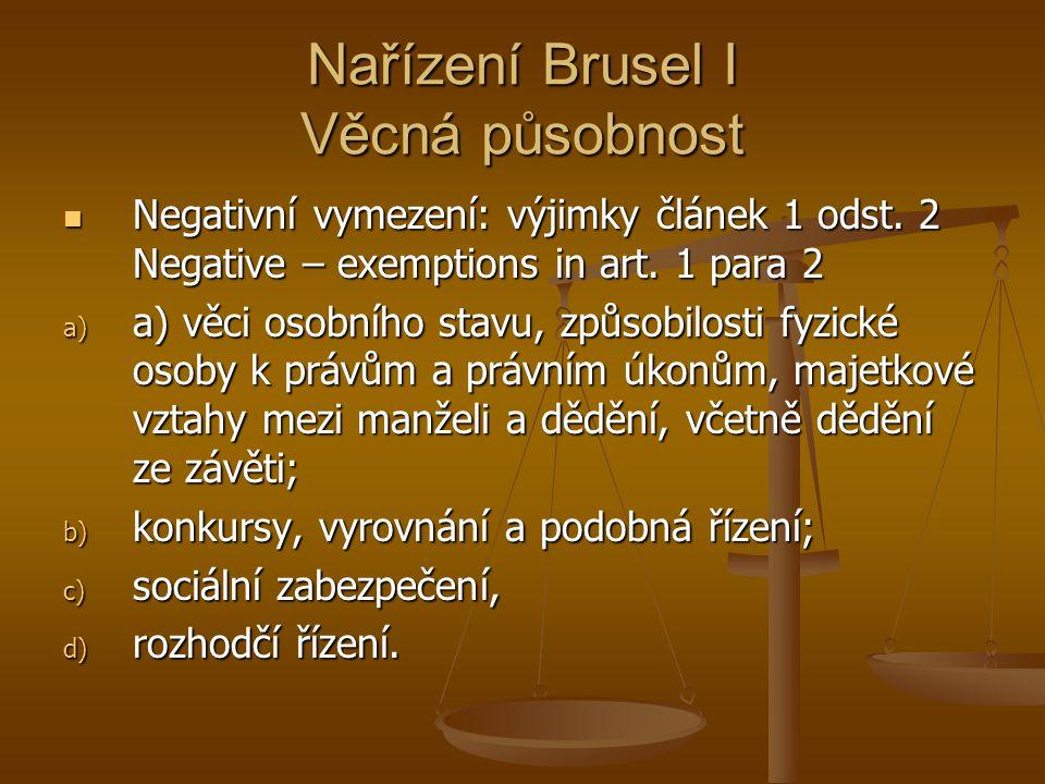 Nařízení Brusel I Věcná působnost