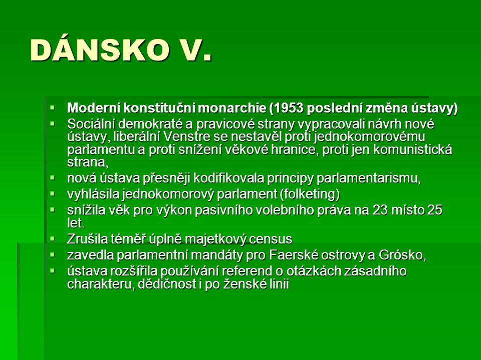 DÁNSKO V. Moderní konstituční monarchie (1953 poslední změna ústavy)