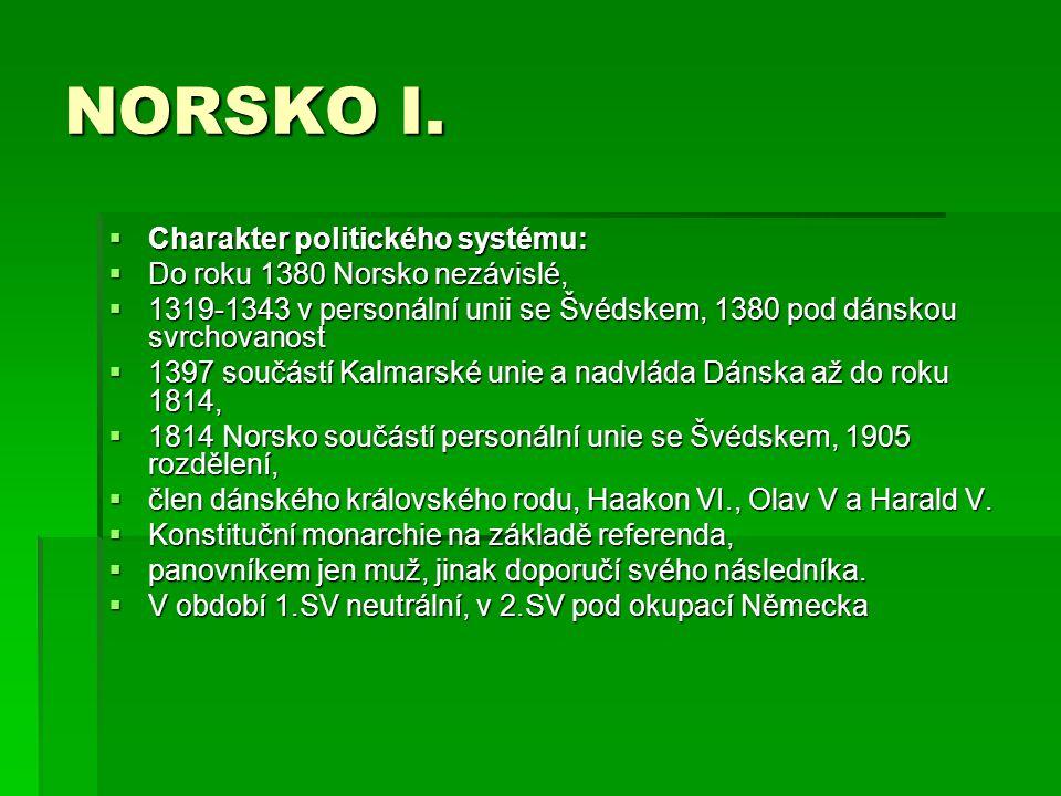 NORSKO I. Charakter politického systému: