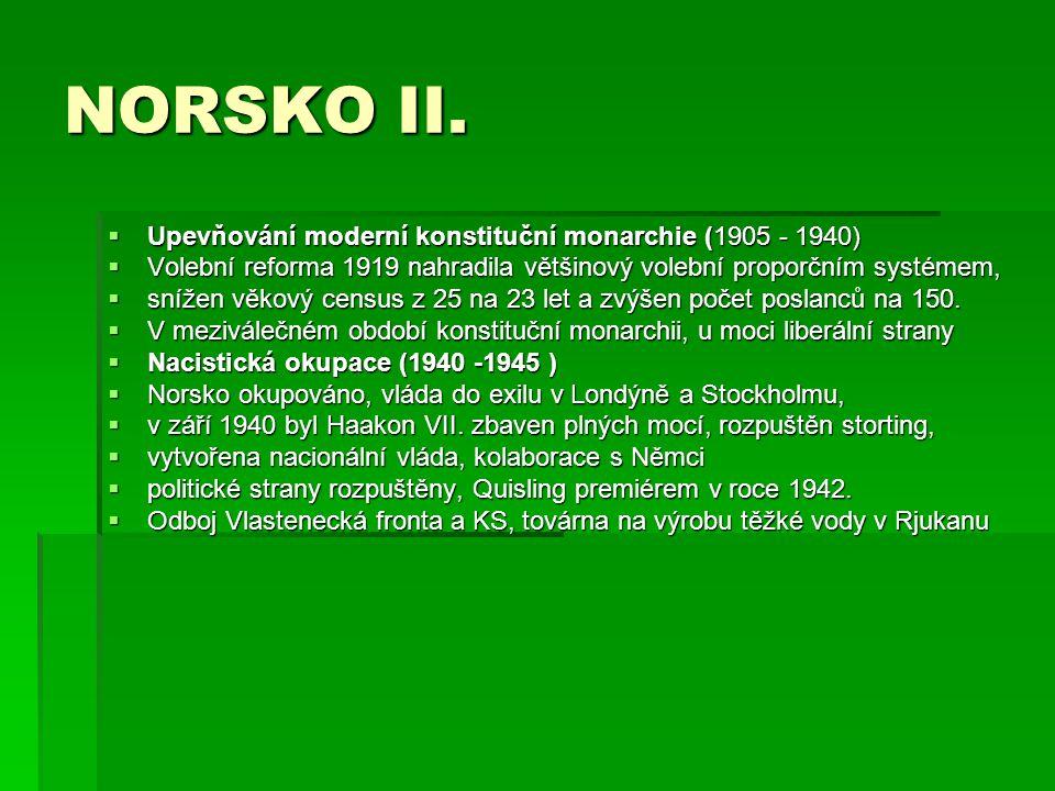 NORSKO II. Upevňování moderní konstituční monarchie (1905 - 1940)