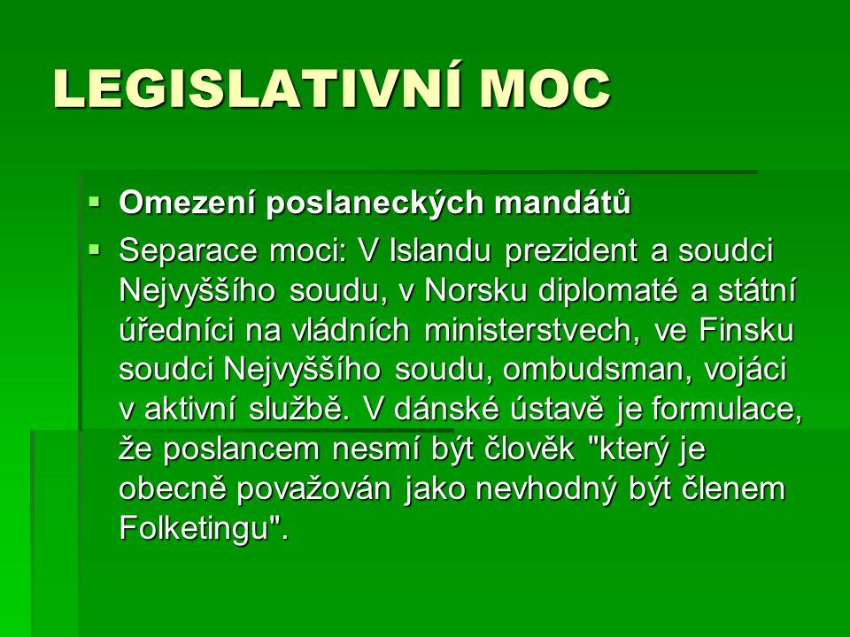 LEGISLATIVNÍ MOC Omezení poslaneckých mandátů