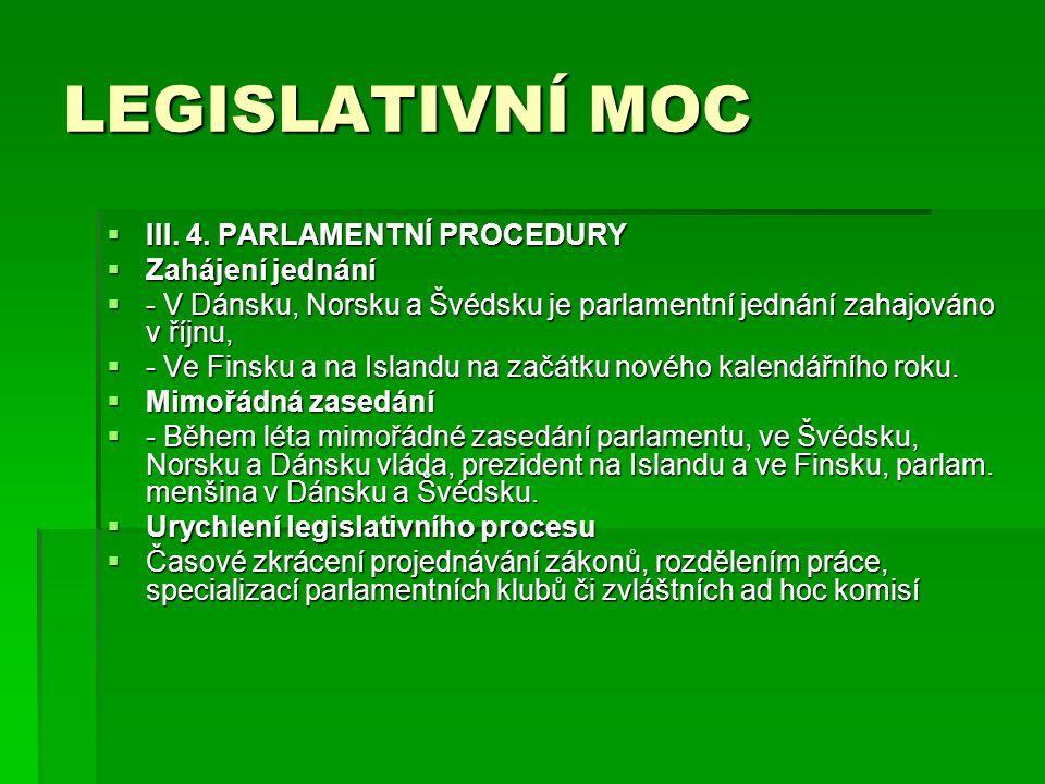 LEGISLATIVNÍ MOC III. 4. PARLAMENTNÍ PROCEDURY Zahájení jednání