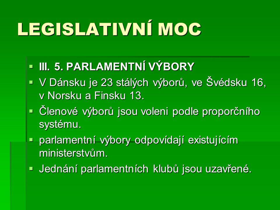LEGISLATIVNÍ MOC III. 5. PARLAMENTNÍ VÝBORY