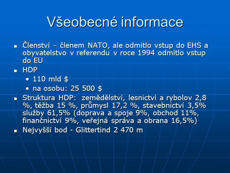 Všeobecné informace Členství – členem NATO, ale odmítlo vstup do EHS a obyvatelstvo v referendu v roce 1994 odmítlo vstup do EU.