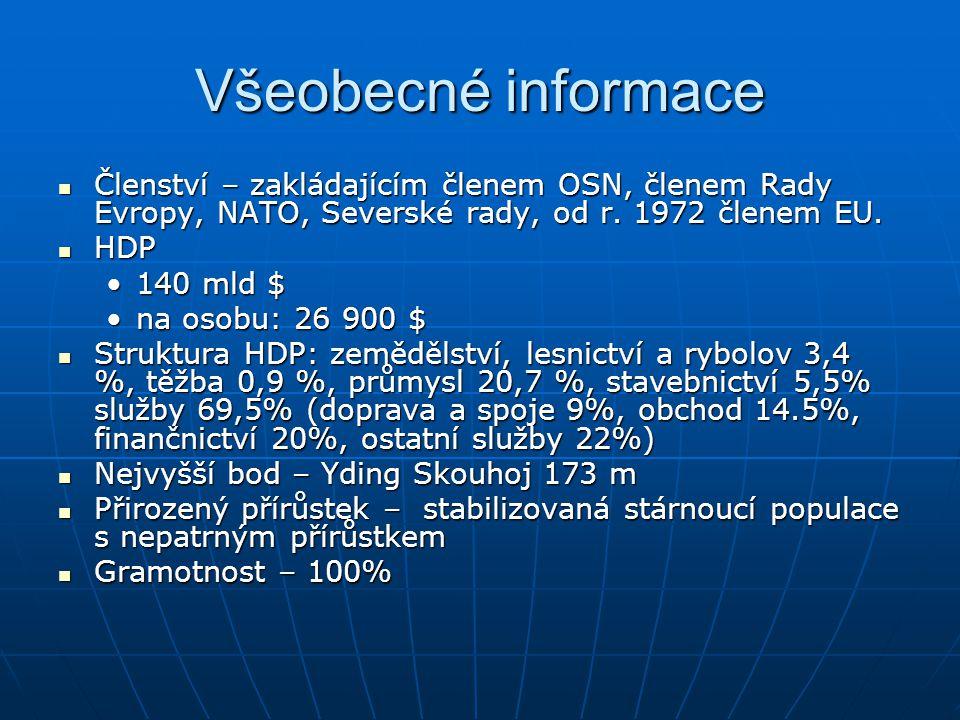 Všeobecné informace Členství – zakládajícím členem OSN, členem Rady Evropy, NATO, Severské rady, od r. 1972 členem EU.