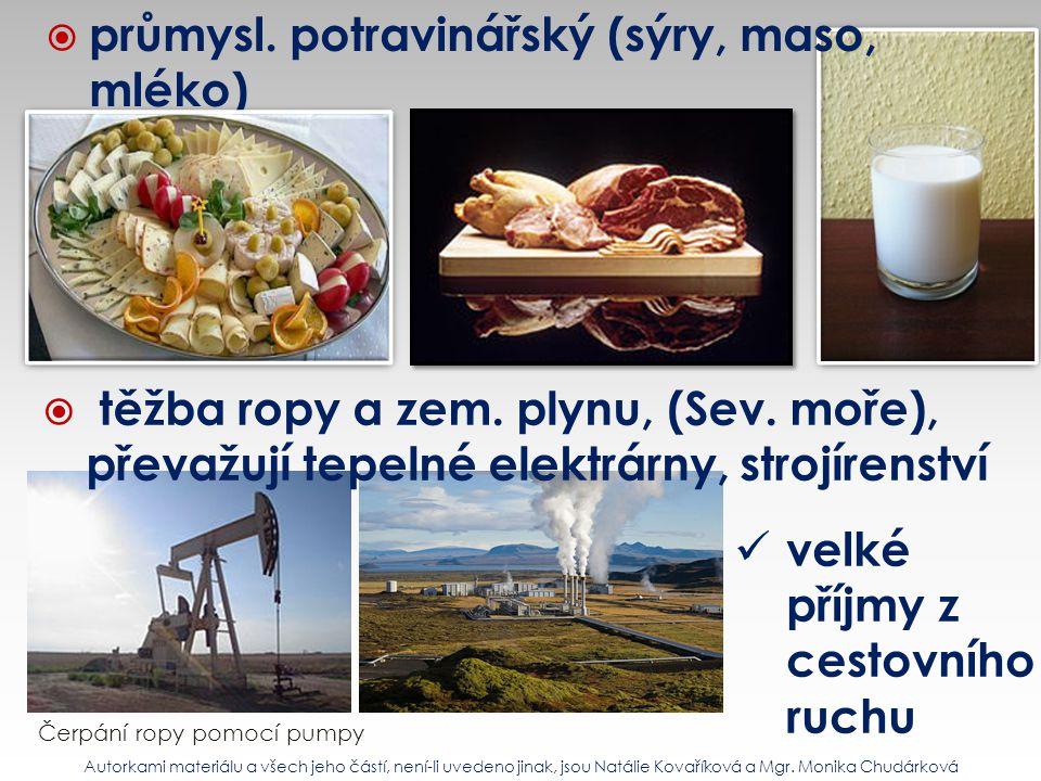 průmysl. potravinářský (sýry, maso, mléko)
