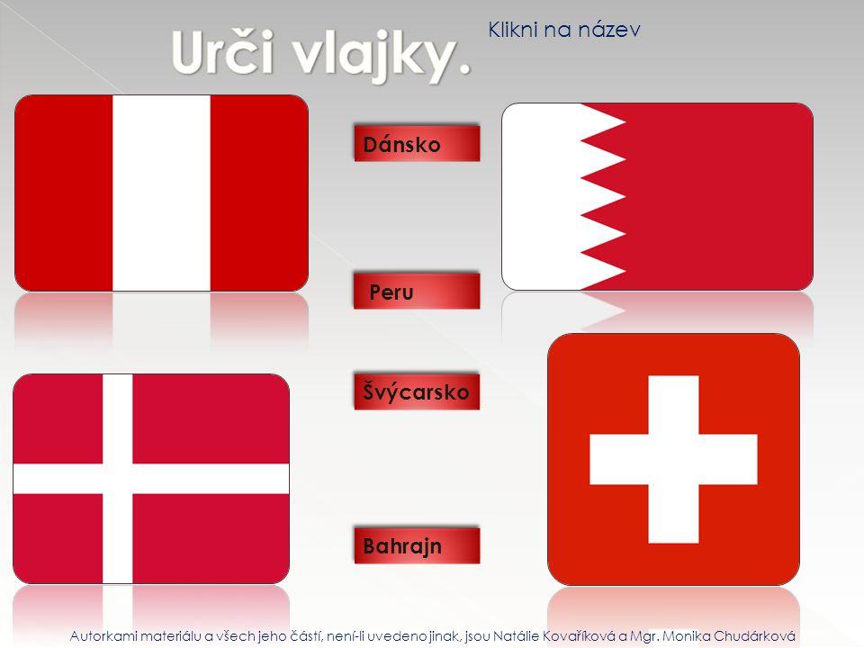Urči vlajky. Klikni na název Dánsko Peru Švýcarsko Bahrajn