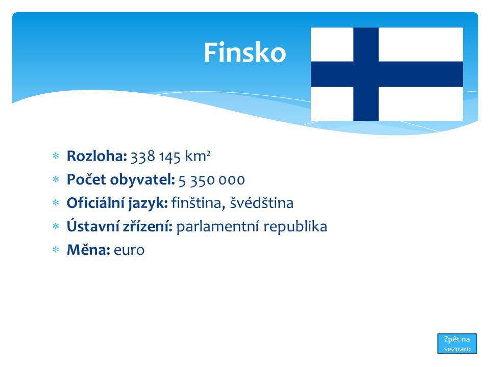 Finsko Rozloha: 338 145 km² Počet obyvatel: 5 350 000