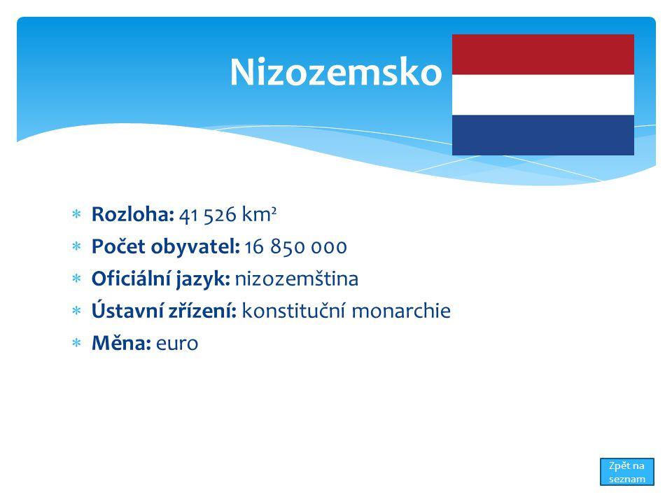 Nizozemsko Rozloha: 41 526 km² Počet obyvatel: 16 850 000