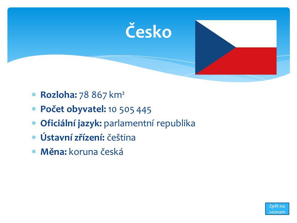 Česko Rozloha: 78 867 km² Počet obyvatel: 10 505 445