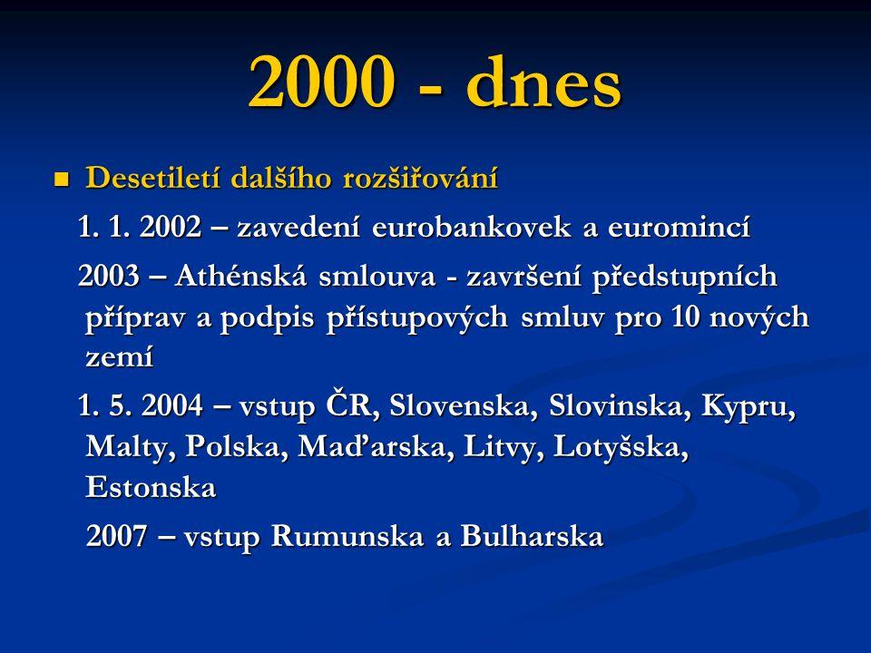 2000 - dnes Desetiletí dalšího rozšiřování