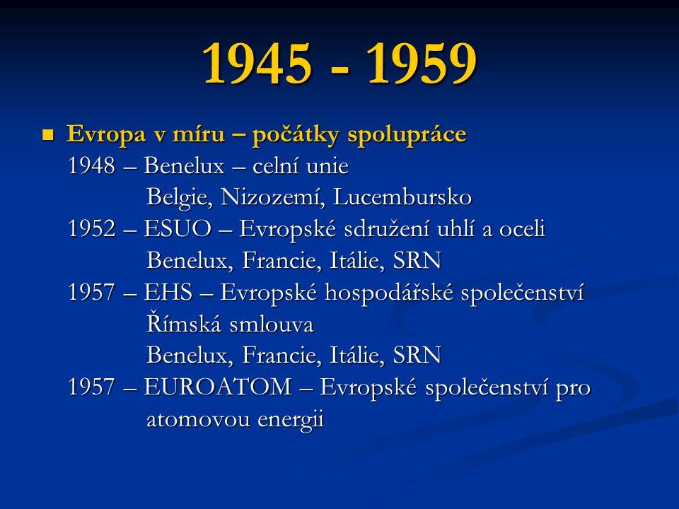 1945 - 1959 Evropa v míru – počátky spolupráce