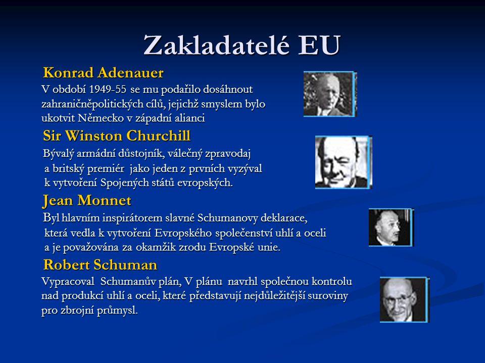 Zakladatelé EU Konrad Adenauer Sir Winston Churchill