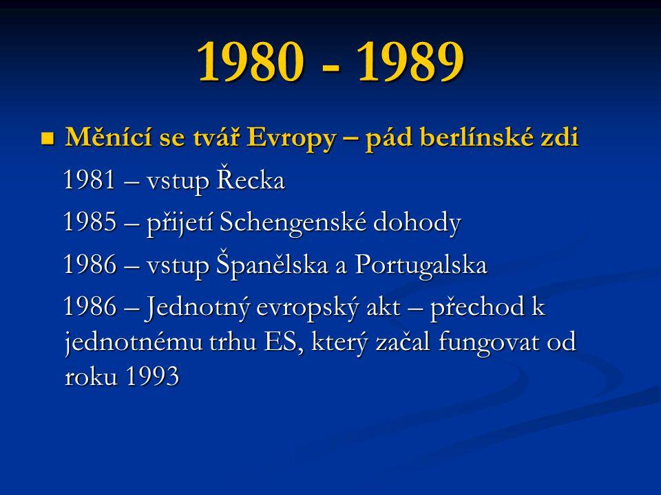 1980 - 1989 Měnící se tvář Evropy – pád berlínské zdi