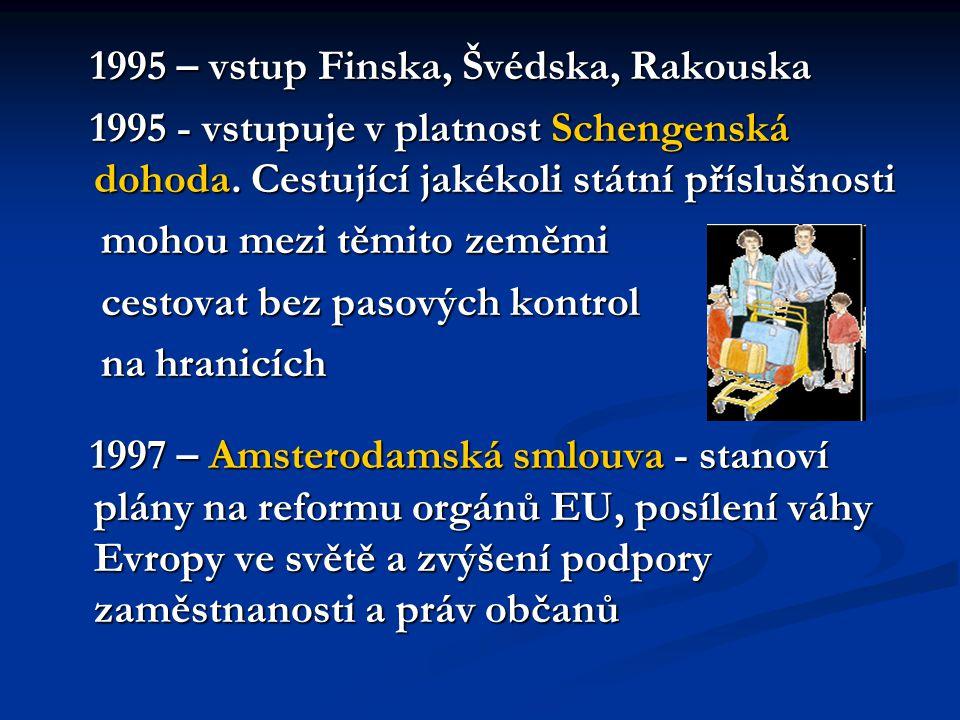 1995 – vstup Finska, Švédska, Rakouska