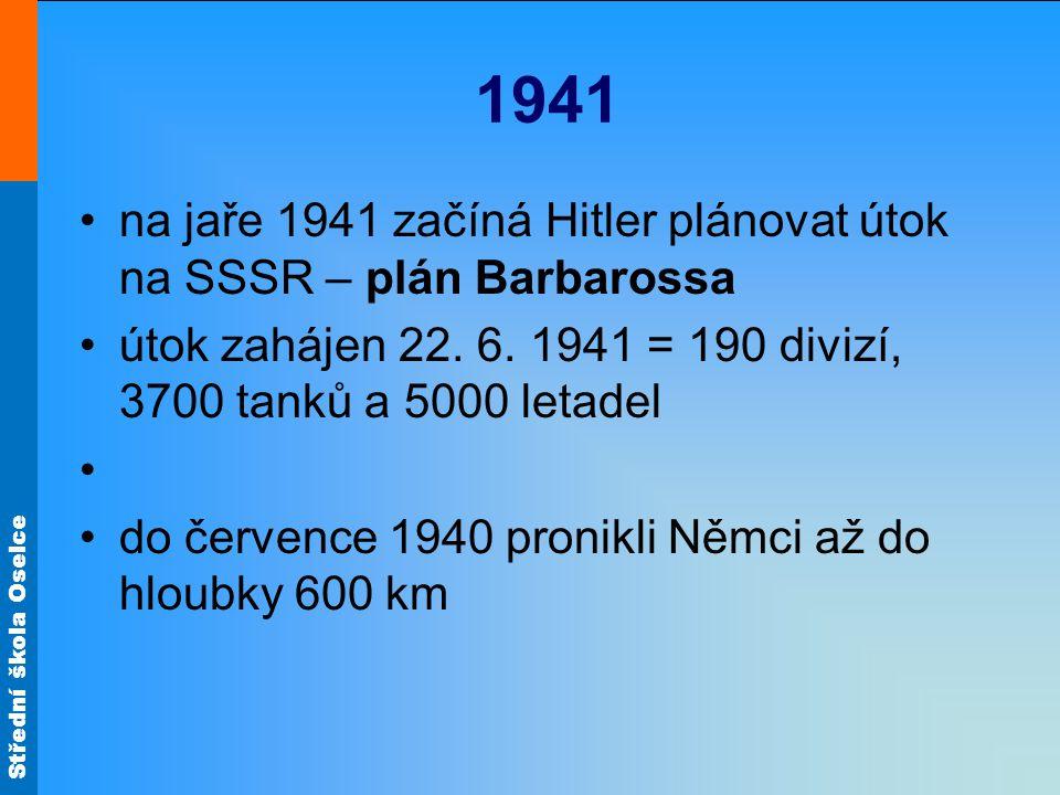 1941 na jaře 1941 začíná Hitler plánovat útok na SSSR – plán Barbarossa. útok zahájen 22. 6. 1941 = 190 divizí, 3700 tanků a 5000 letadel.