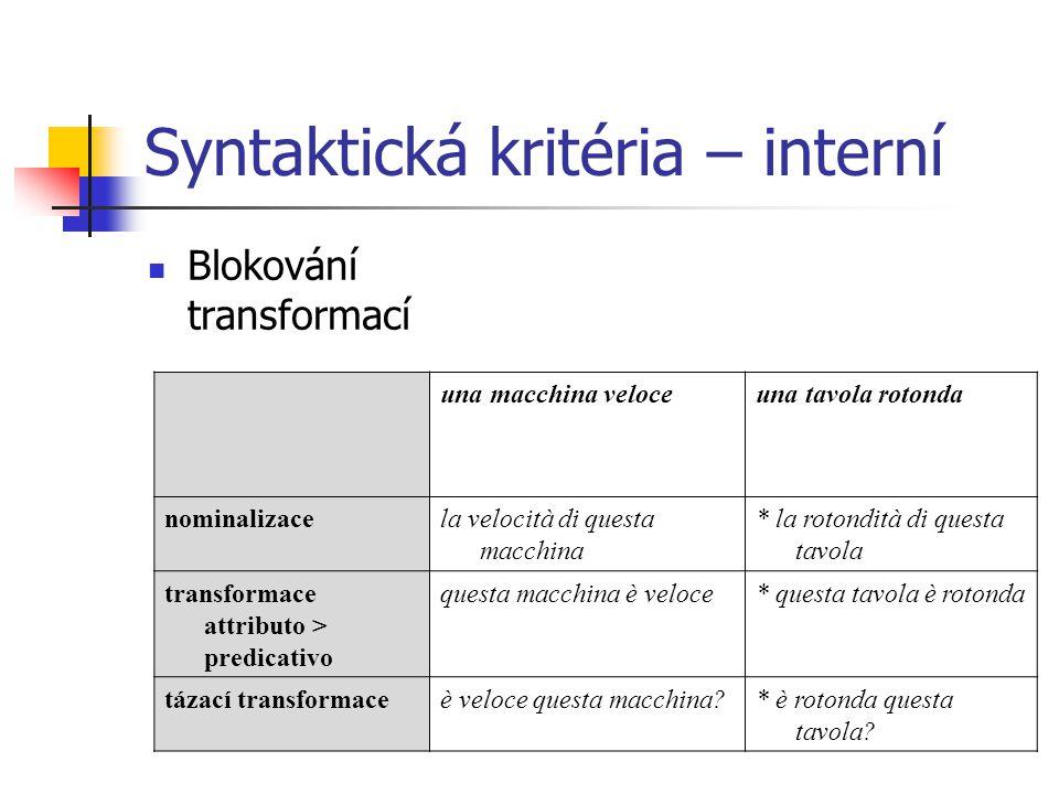 Syntaktická kritéria – interní