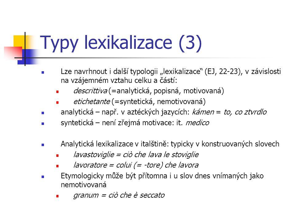 """Typy lexikalizace (3) Lze navrhnout i další typologii """"lexikalizace (EJ, 22-23), v závislosti na vzájemném vztahu celku a částí:"""