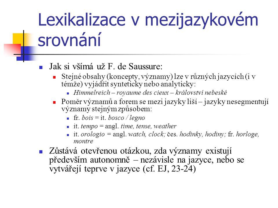Lexikalizace v mezijazykovém srovnání