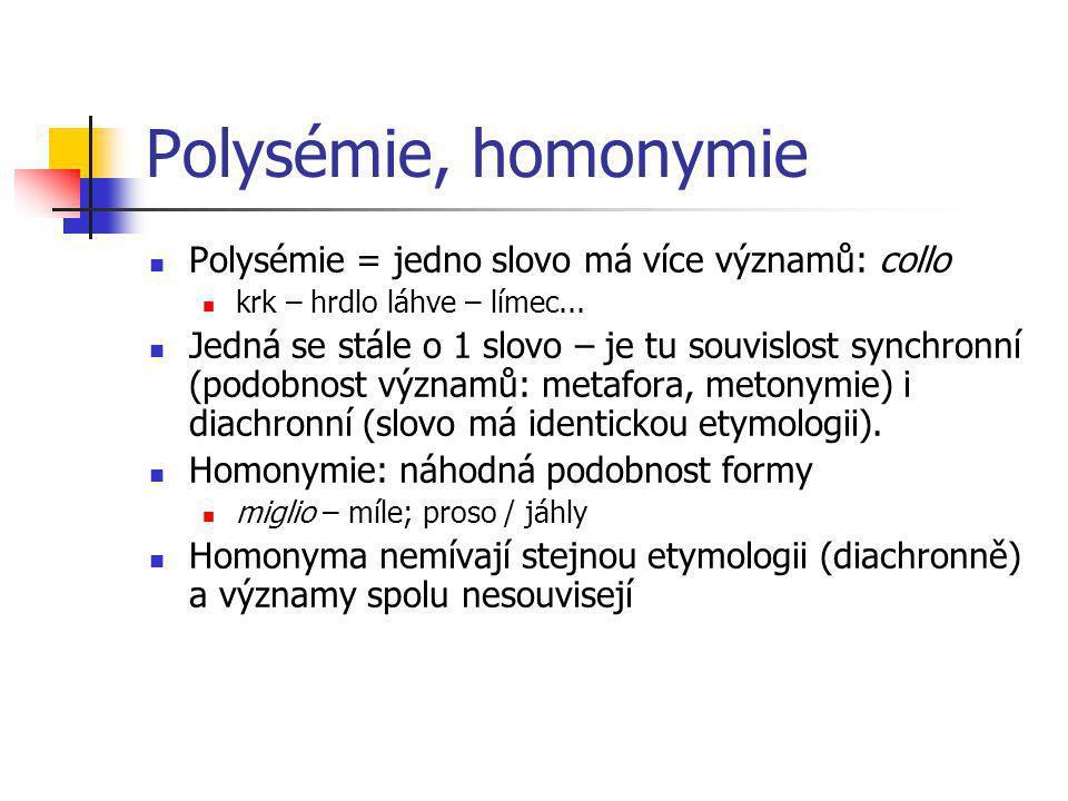 Polysémie, homonymie Polysémie = jedno slovo má více významů: collo