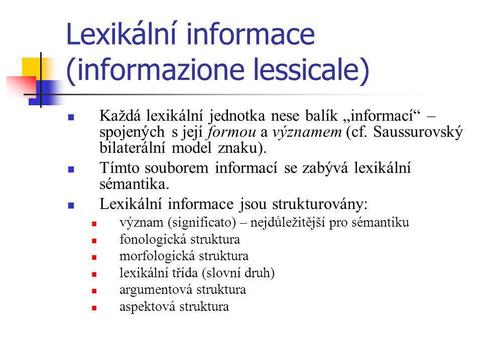 Lexikální informace (informazione lessicale)