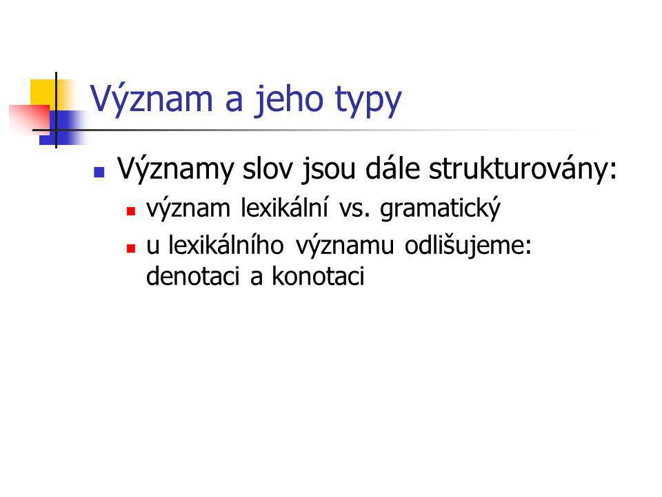 Význam a jeho typy Významy slov jsou dále strukturovány: