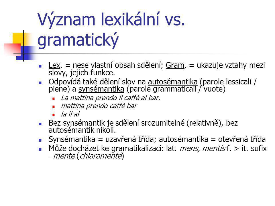 Význam lexikální vs. gramatický