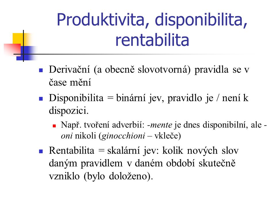 Produktivita, disponibilita, rentabilita