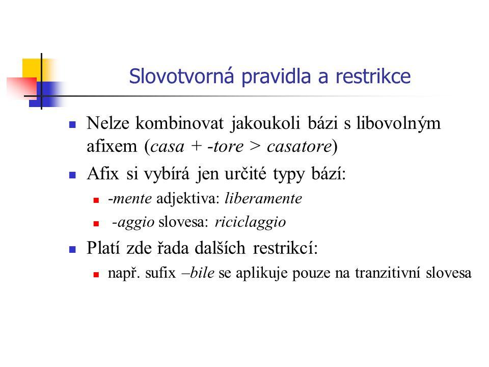 Slovotvorná pravidla a restrikce