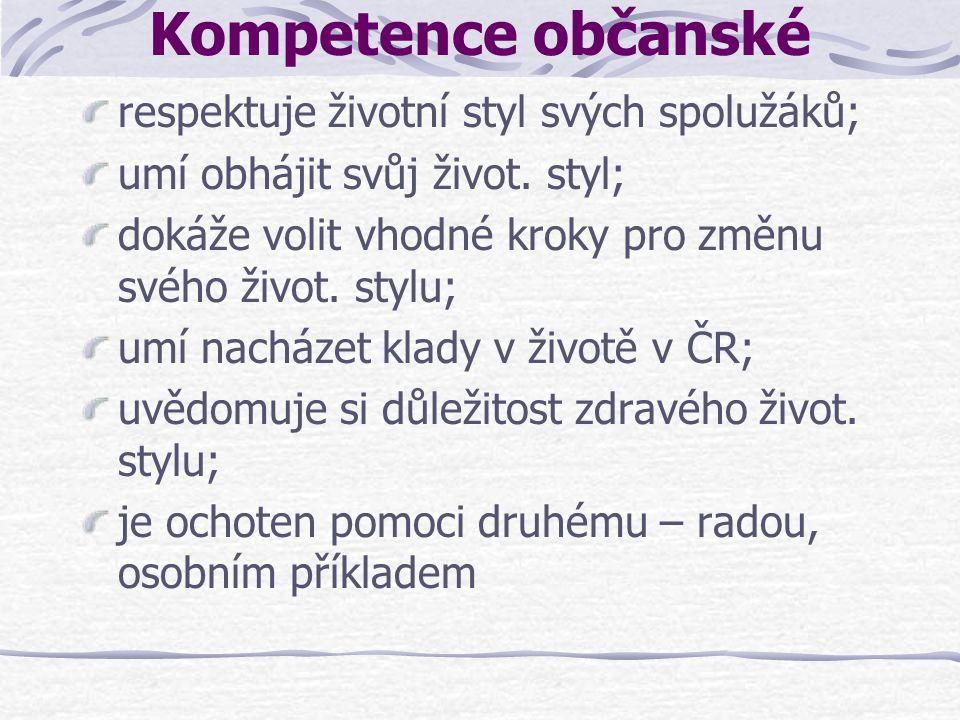 Kompetence občanské respektuje životní styl svých spolužáků;
