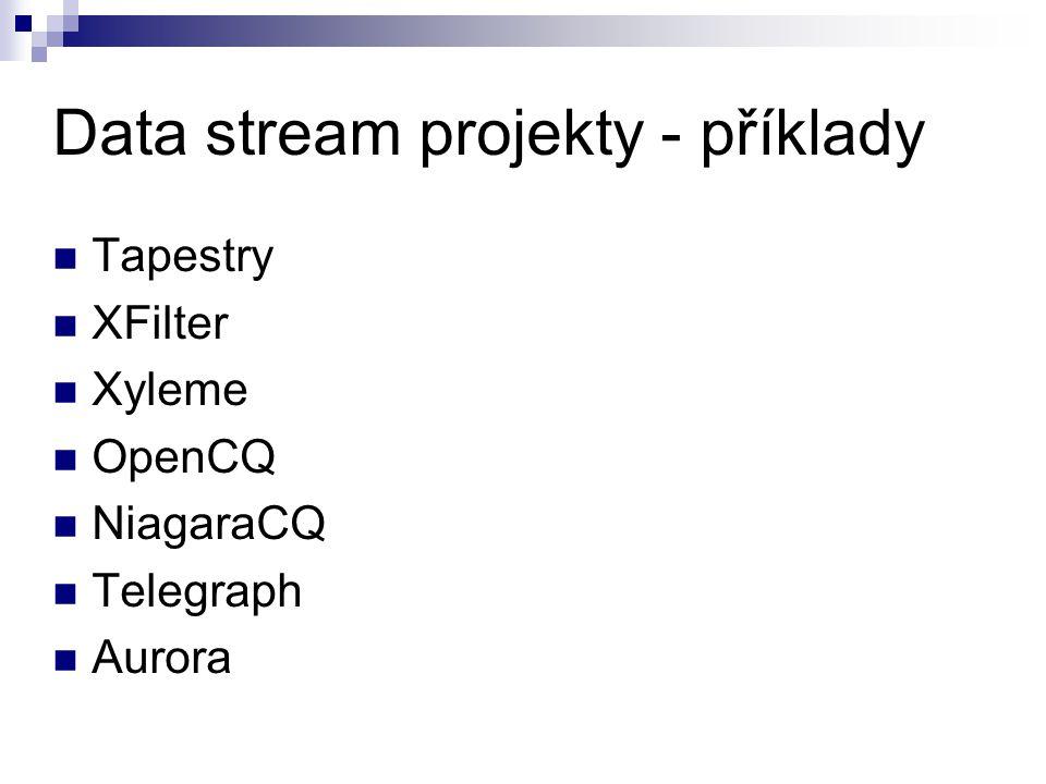 Data stream projekty - příklady