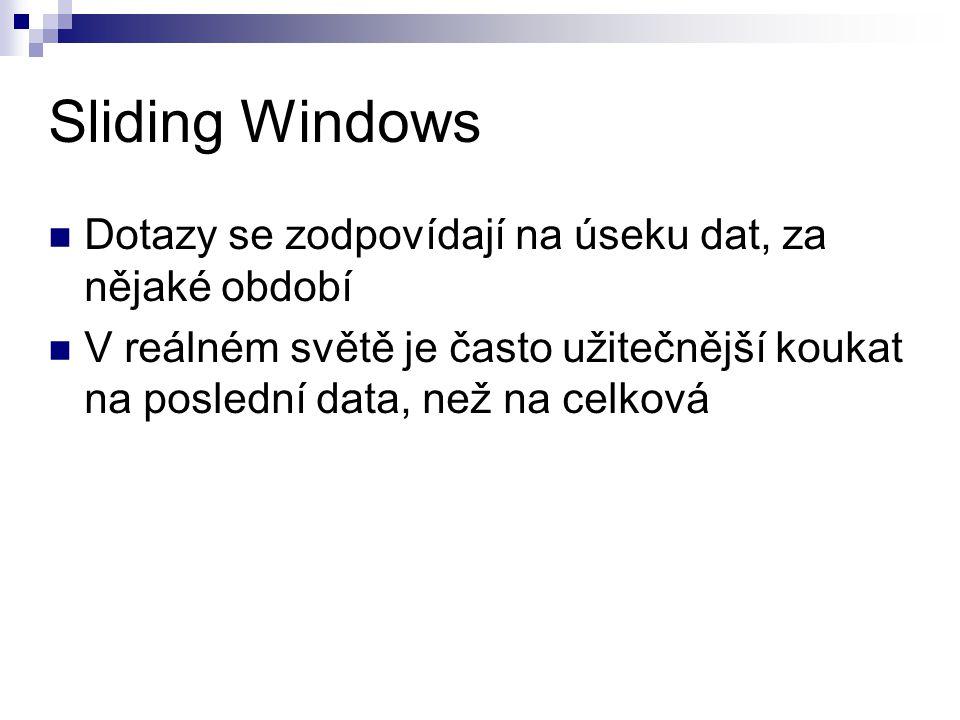 Sliding Windows Dotazy se zodpovídají na úseku dat, za nějaké období