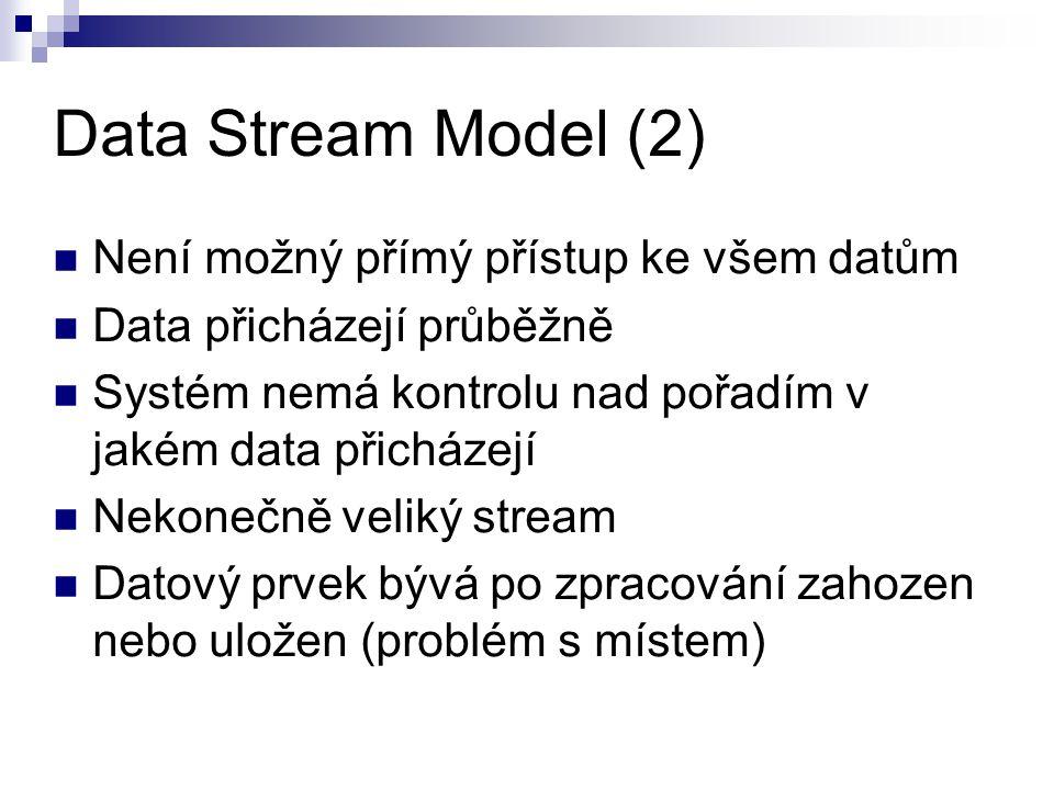Data Stream Model (2) Není možný přímý přístup ke všem datům