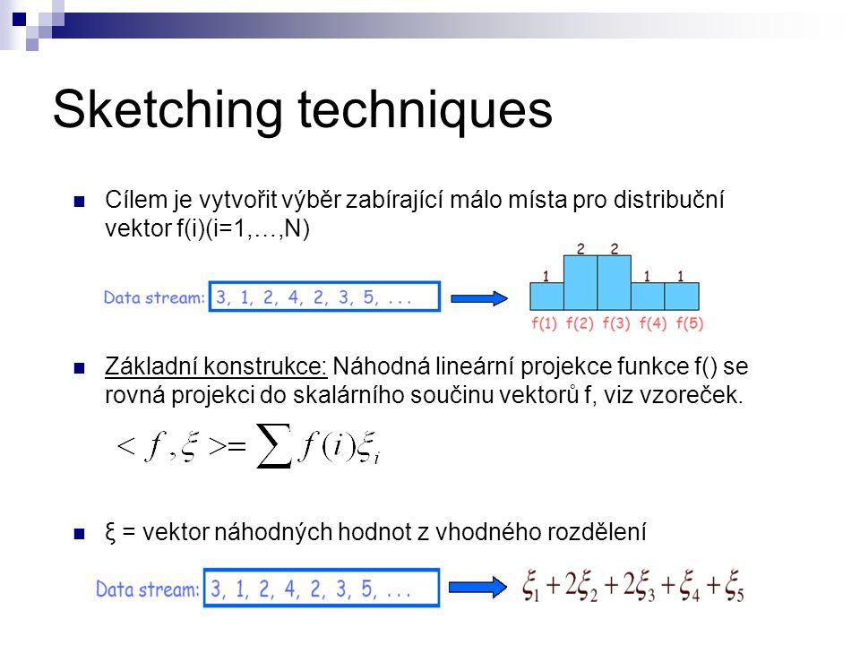 Sketching techniques Cílem je vytvořit výběr zabírající málo místa pro distribuční vektor f(i)(i=1,…,N)