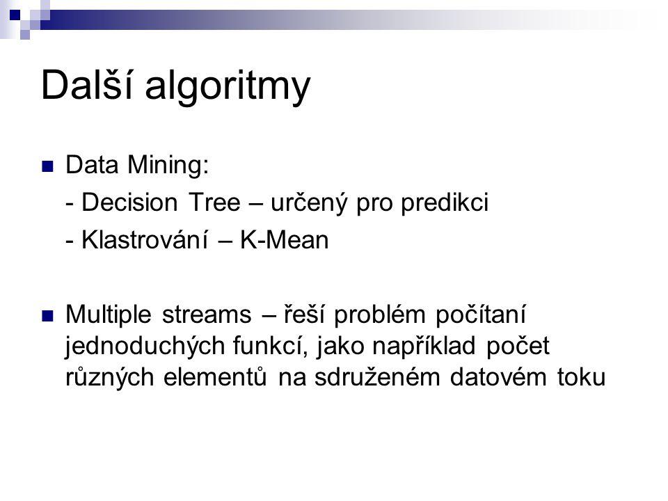 Další algoritmy Data Mining: - Decision Tree – určený pro predikci