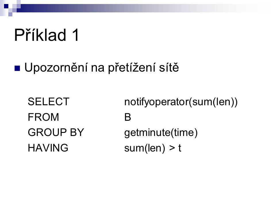 Příklad 1 Upozornění na přetížení sítě SELECT notifyoperator(sum(len))