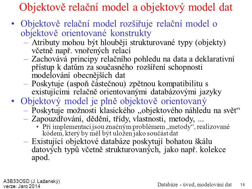 Objektově relační model a objektový model dat