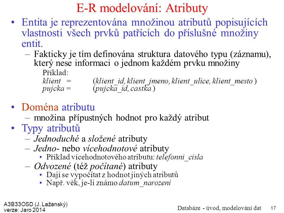 E-R modelování: Atributy
