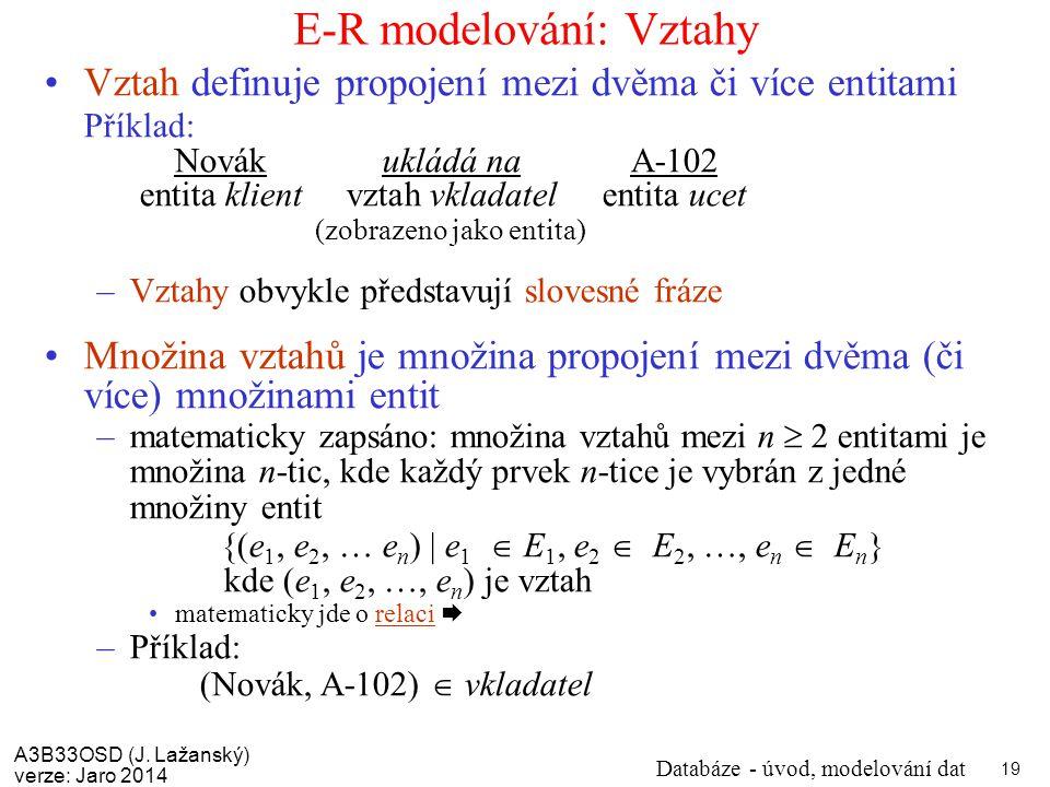 E-R modelování: Vztahy