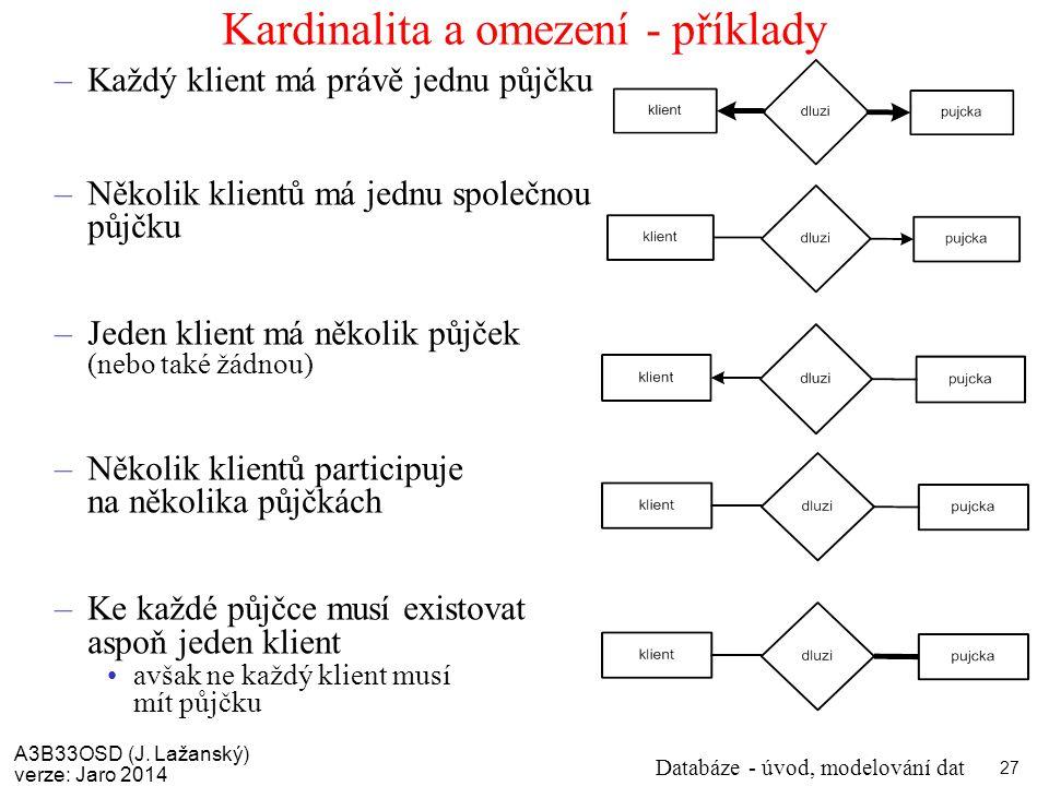 Kardinalita a omezení - příklady