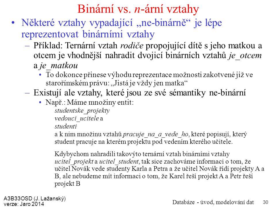 Binární vs. n-ární vztahy
