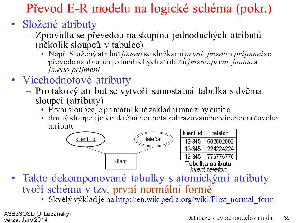 Převod E-R modelu na logické schéma (pokr.)