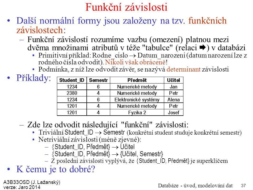 Funkční závislosti Další normální formy jsou založeny na tzv. funkčních závislostech: