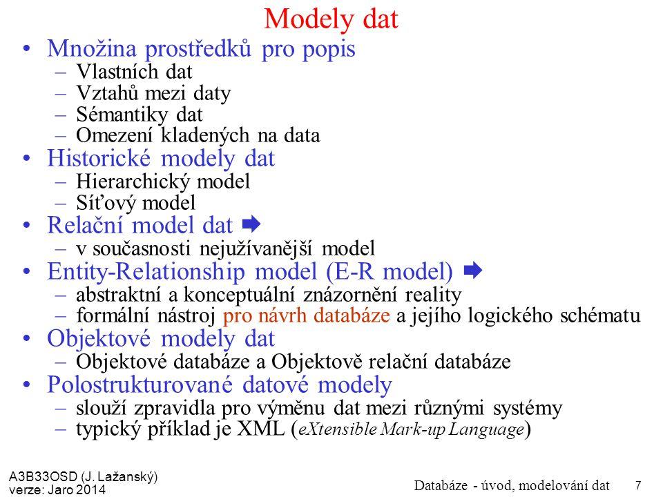 Modely dat Množina prostředků pro popis Historické modely dat